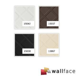 Wandpaneel Leder Design Karo Muster WallFace 13867 ROMBO Wandplatte Wandverkleidung selbstklebend creme | 2, 60 qm - Vorschau 2
