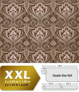 Barock Tapete XXL Vliestapete EDEM 993-36 Elegantes Damastmuster hochwertige Luxus Tapete braun kakaobraun creme beige 10, 65 m2