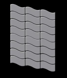 Mosaik Fliese massiv Metall Edelstahl matt in grau 1, 6mm stark ALLOY Flux-S-S-MA Designed by Karim Rashid 0, 86 m2 - Vorschau 3