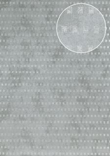 Grafik Tapete Atlas ICO-5071-4 Vliestapete glatt mit abstraktem Muster schimmernd grau tauben-blau silber 7, 035 m2