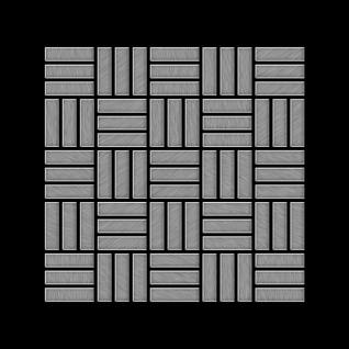 Mosaik Fliese massiv Metall Edelstahl gebürstet in grau 1, 6mm stark ALLOY Basketweave-S-S-B 0, 82 m2 - Vorschau 3