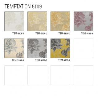 Blumen Tapete Atlas TEM-5109-1 Vliestapete strukturiert mit Paisley Muster schimmernd creme perl-weiß hell-elfenbein grau-beige 7, 035 m2 - Vorschau 5