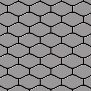 Mosaik Fliese massiv Metall Edelstahl matt in grau 1, 6mm stark ALLOY Karma-S-S-MA Designed by Karim Rashid 0, 86 m2