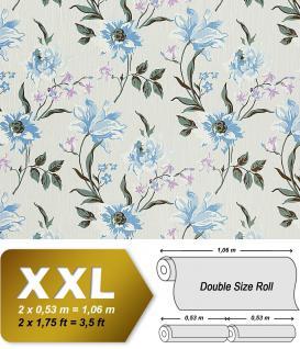 Landhaus Vliestapete Blumentapete EDEM 900-10 Floral Design hochwertige Textiloptik himmelbau weiß grau 10, 65 qm