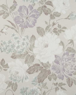 Blumen Tapete Profhome BV919083-DI heißgeprägte Vliestapete strukturiert im romantischen Design matt grau anthrazit flieder mint 5, 33 m2