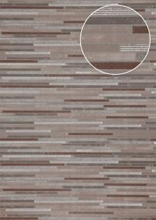 Stein-Kacheln Tapete Atlas ICO-5076-3 Vliestapete glatt in Steinoptik schimmernd braun grau kupfer 7, 035 m2