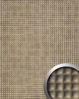 Wandpaneel Quadrat Leder Dekor Wandplatte WallFace 17851 QUADRO Wandverkleidung selbstklebend bronze glänzend | 2, 60 qm