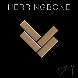 Mosaik Fliese massiv Metall Titan gebürstet in gold 1, 6mm stark ALLOY Herringbone-Ti-GB 0, 85 m2 - Vorschau 2