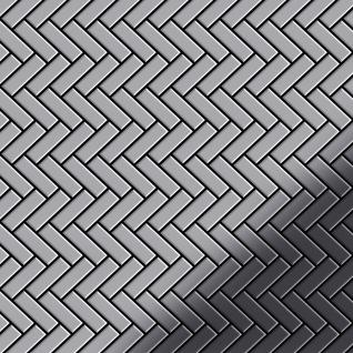 Mosaik Fliese massiv Metall Edelstahl hochglänzend in grau 1, 6mm stark ALLOY Herringbone-S-S-M 0, 94 m2