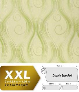 Grafik Tapete Vliestapete EDEM 954-28 XXL geschwungene Linien-Ornamente Matt-Glanz Ton-in-Ton Hell-grün heugrün 10, 65 qm