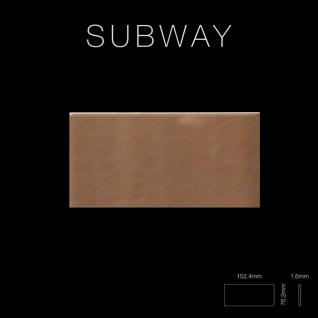 Mosaik Fliese massiv Metall Titan gebürstet in kupfer 1, 6mm stark ALLOY Subway-Ti-AB 0, 58 m2 - Vorschau 2
