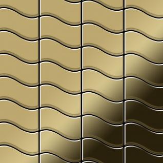 Mosaik Fliese massiv Metall Titan hochglänzend in gold 1, 6mm stark ALLOY Flux-Ti-GM Designed by Karim Rashid 0, 86 m2