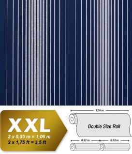 Streifen Tapete Vliestapete EDEM 973-37 XXL Designer Tapete gestreifte Objekttapete blau marineblau silber-grau 10, 65 qm
