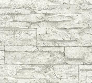 Stein Kacheln Tapete Profhome 707161-GU Vliestapete leicht strukturiert in Steinoptik matt weiß grau 5, 33 m2