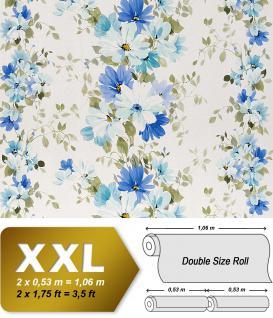 Vliestapete Blumen Tapete EDEM 907-01 XXL Floral Designer hochwertige Textiloptik Weiß blau olive türkis 10, 65 qm