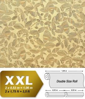 Blumen Tapete XXL Vliestapete EDEM 923-38 Elegantes florales Design Muster Metallic Effekt gelb beige gold metallic 10, 65 m2