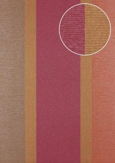 Streifen Tapete Atlas PRI-546-5 Vliestapete glatt in Textiloptik und metallischen Akzenten rot gold bordeaux-violett tomaten-rot 5, 33 m2