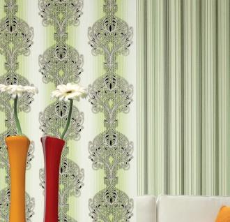 3D Barock Tapete EDEM 096-25 Tapete Damask prunkvolle Ornament-Designs grün hellgrün weiß gold silber schwarz   5, 33 qm - Vorschau 5