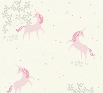 Kinder Tapete Profhome 369891-GU Vliestapete glatt mit Tier-Motiven matt rosa grau weiß 5, 33 m2