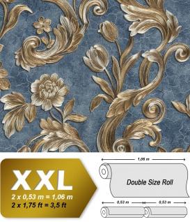 Blumen Tapete EDEM 9013-37 heißgeprägte Vliestapete geprägt mit floralen Ornamenten und metallischen Akzenten blau silber gold 10, 65 m2