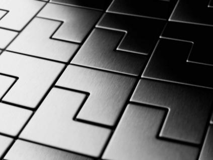 Mosaik Fliese massiv Metall Edelstahl marine hochglänzend in grau 1, 6mm stark ALLOY Kink-S-S-MM Designed by Karim Rashid 0, 93 m2 - Vorschau 4