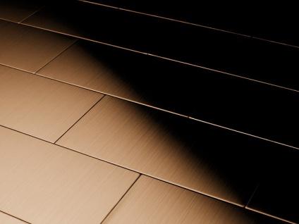 Mosaik Fliese massiv Metall Titan gebürstet in kupfer 1, 6mm stark ALLOY Subway-Ti-AB 0, 58 m2 - Vorschau 4