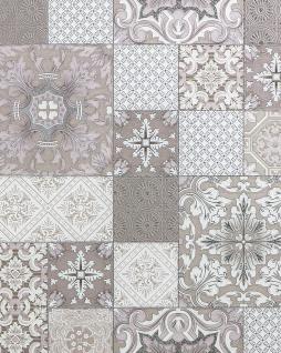 Küchen Bad Tapete EDEM 87001BR13 Vinyltapete leicht strukturiert mit Kachelmuster und metallischen Akzenten beige taupe weiß silber 5, 33 m2