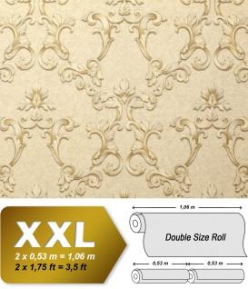 Barock Tapete EDEM 9085-21 heißgeprägte Vliestapete geprägt mit floralen 3D Ornamenten schimmernd creme perl-weiß hell-elfenbein perl-gold 10, 65 m2