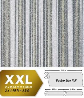 Streifen Vliestapete EDEM 938-37 XXL Vintage Tapete Barock Präge Textur anthrazit-grau olive naturweiß 10, 65 qm