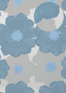 Blumen Tapete Atlas TEM-8015-3 Vliestapete geprägt im Retro-Stil und Metallic Effekt silber brillant-blau pastell-blau weiß-aluminium 7, 035 m2