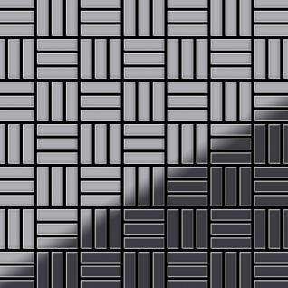 Mosaik Fliese massiv Metall Edelstahl hochglänzend in grau 1, 6mm stark ALLOY Basketweave-S-S-M 0, 82 m2