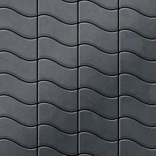 Mosaik Fliese massiv Metall Rohstahl gewalzt in grau 1, 6mm stark ALLOY Flux-RS Designed by Karim Rashid 0, 86 m2