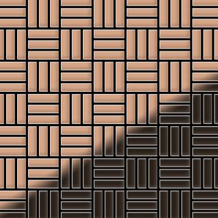 Mosaik Fliese massiv Metall Kupfer gewalzt in kupfer 1, 6mm stark ALLOY Basketweave-CM 0, 82 m2
