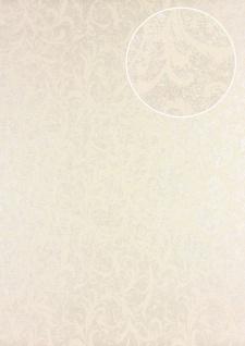 Barock Tapete Atlas PRI-523-3 Vliestapete glatt mit floralen Ornamenten schimmernd beige elfenbein grün-beige 5, 33 m2