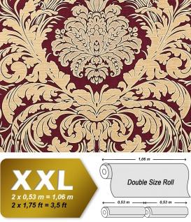 Barock Tapete EDEM 9017-35 heißgeprägte Vliestapete geprägt mit floralen Ornamenten glitzernd rot wein-rot beige 10, 65 m2