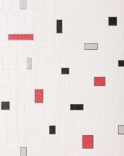 Küchentapete Stein Tapete EDEM 584-26 Vinyl Tapete dekorative Fliesen Kacheln Mosaik-Stein Optik weiß schwarz grau rot