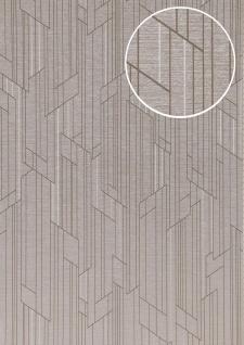 Grafik Tapete ATLAS XPL-565-6 Vliestapete strukturiert mit geometrischen Formen schimmernd grau licht-grau grau-braun silber 5, 33 m2