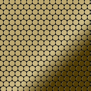 Mosaik Fliese massiv Metall Titan hochglänzend in gold 1, 6mm stark ALLOY Penny-Ti-GM 0, 88 m2