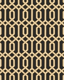 Grafik Tapete Profhome BA220016-DI heißgeprägte Vliestapete geprägt mit geometrischen Formen und metallischen Akzenten schwarz gold beige 5, 33 m2