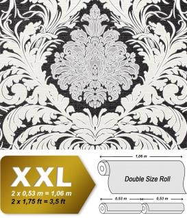 Barock Tapete EDEM 9017-30 heißgeprägte Vliestapete geprägt mit floralen Ornamenten glitzernd schwarz creme-weiß silber 10, 65 m2