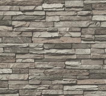 Stein Kacheln Tapete Profhome 958331-GU Vliestapete glatt in Steinoptik matt grau creme schwarz 5, 33 m2