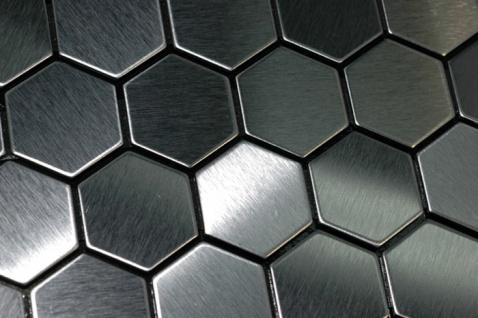 Mosaik Fliese massiv Metall Edelstahl marine gebürstet in grau 1, 6mm stark ALLOY Honey-S-S-MB 0, 92 m2 - Vorschau 4