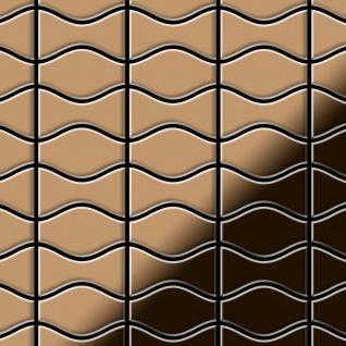 Mosaik Fliese massiv Metall Titan hochglänzend in kupfer 1, 6mm stark ALLOY Kismet & Karma-Ti-AM Designed by Karim Rashid 0, 86 m2