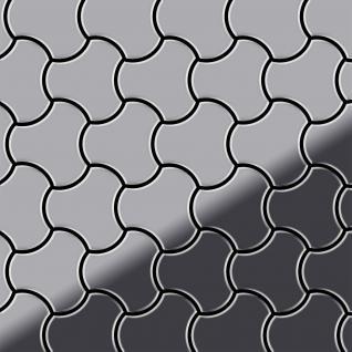 Mosaik Fliese massiv Metall Edelstahl marine hochglänzend in grau 1, 6mm stark ALLOY Ubiquity-S-S-MM Designed by Karim Rashid 0, 75 m2
