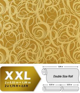 3D Vliestapete Grafiktapete XXL EDEM 971-38 Design geschwungene Linien abstraktes Wirbelmuster Olivgrün gold 10, 65 qm