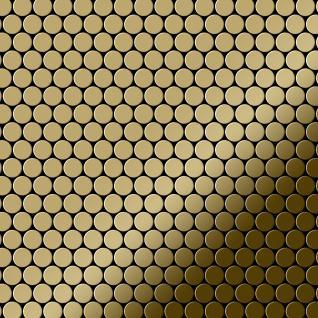 Mosaik Fliese massiv Metall Titan hochglänzend in gold 1, 6mm stark ALLOY Penny-Ti-GM 0, 92 m2