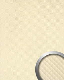 Wandpaneel Leder Design Karo Muster WallFace 15657 ROMBO Wandplatte Wandverkleidung selbstklebend creme 2, 60 qm
