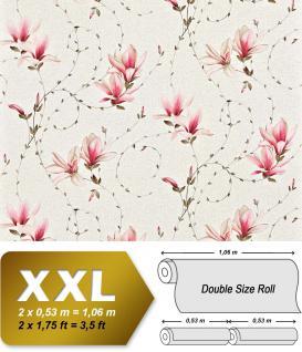 Landhaus Tapete Blumen XXL Vliestapete EDEM 902-15 Florales Design hochwertige Textiloptik pink rosa creme 10, 65 m2