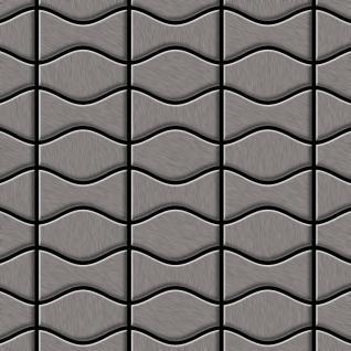 Mosaik Fliese massiv Metall Titan gebürstet in dunkelgrau 1, 6mm stark ALLOY Kismet & Karma-Ti-SB Designed by Karim Rashid 0, 86 m2