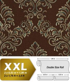 Barock Tapete EDEM 9084-26 heißgeprägte Vliestapete geprägt mit floralen Ornamenten und metallischen Akzenten braun gold petrol 10, 65 m2